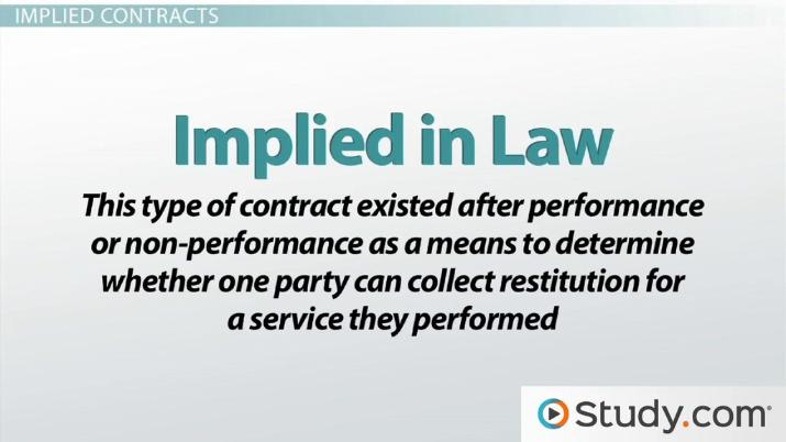 Expressed vs Implied Contracts Differences  Examples - Video - Differences Contract Agreement
