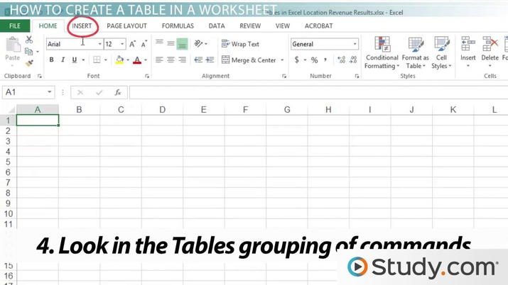 How to Create a Table in an Excel Worksheet - Video  Lesson