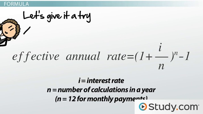 Effective Annual Rate Formula  Calculations - Video  Lesson