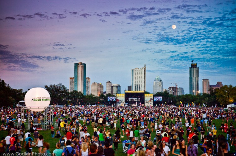 Day 1 of Austin City Limits Music Festival on October 2, 2009.  Full Moon over the Austin Skyline.