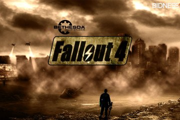 Official artwork for Fallout 4 shows a man standing in post-apocalyptic dust storm