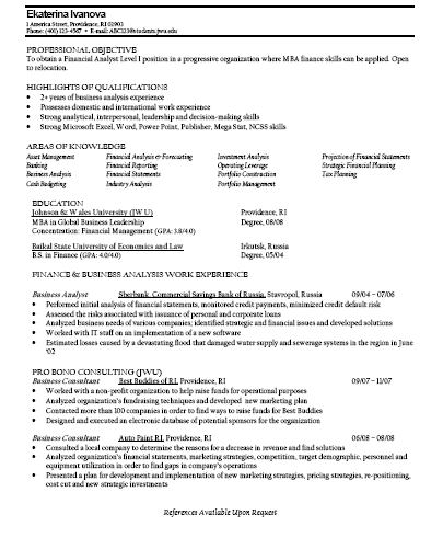 resume objective sample for finance graduate