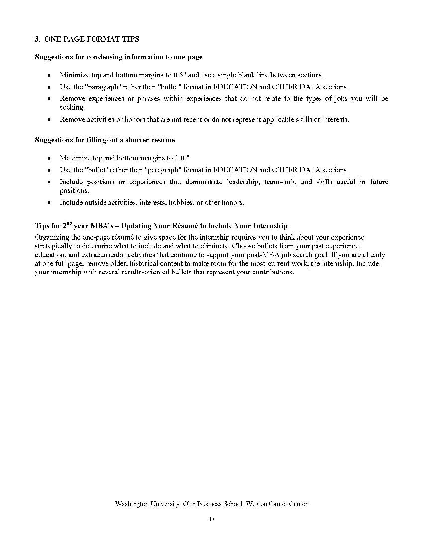 resume examples for internship