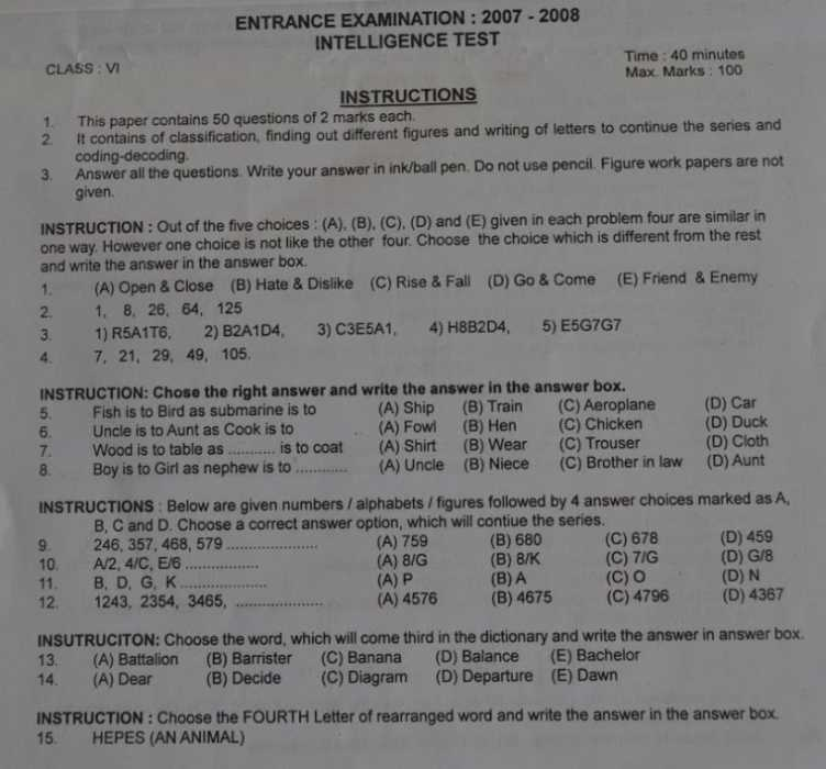 Model question papers of Sainik School entrance exam for 6th standard?