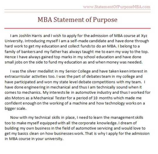 personal statement examples in mba, How to Write an Argumentative - Sample Of Statement Of Purpose