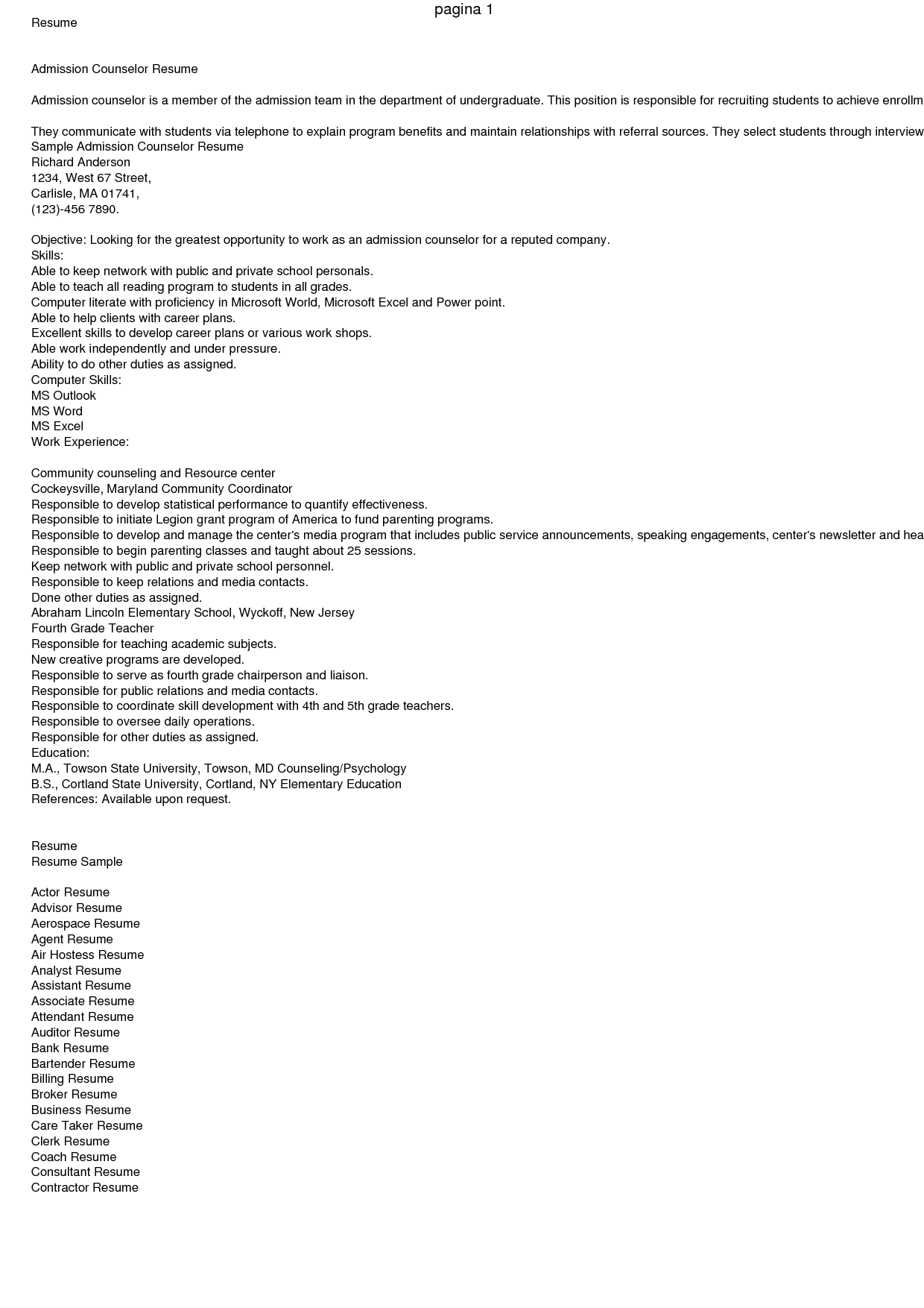 resume of student counsellor