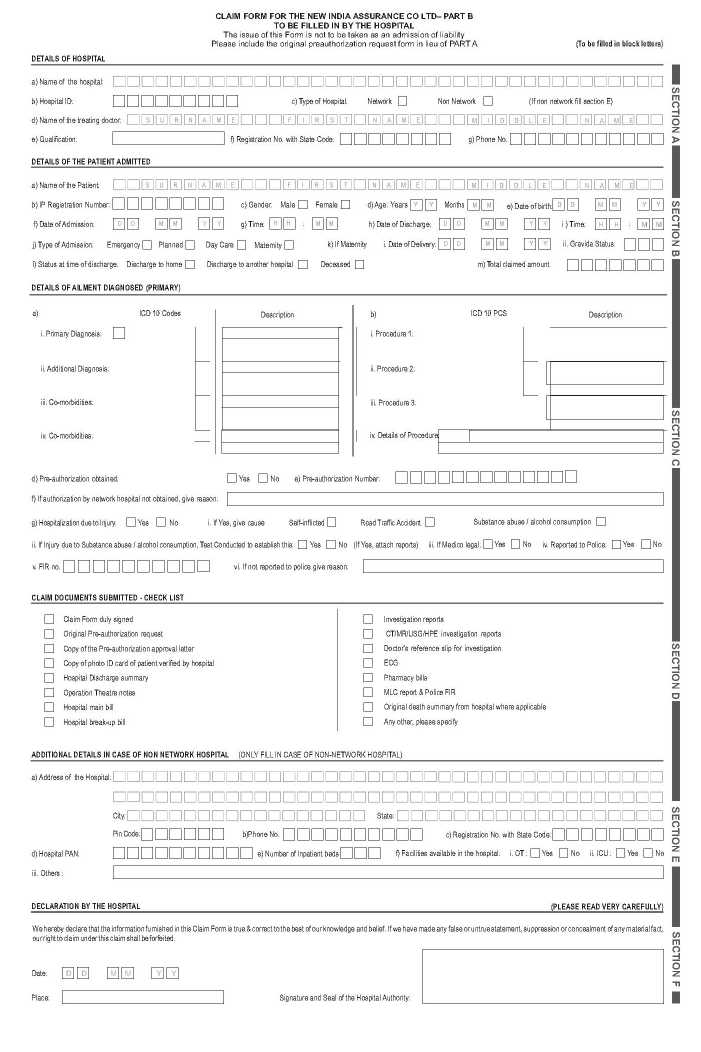 The New India Assurance Company Limited Claim Form PDF - 2018-2019 - claim form in pdf