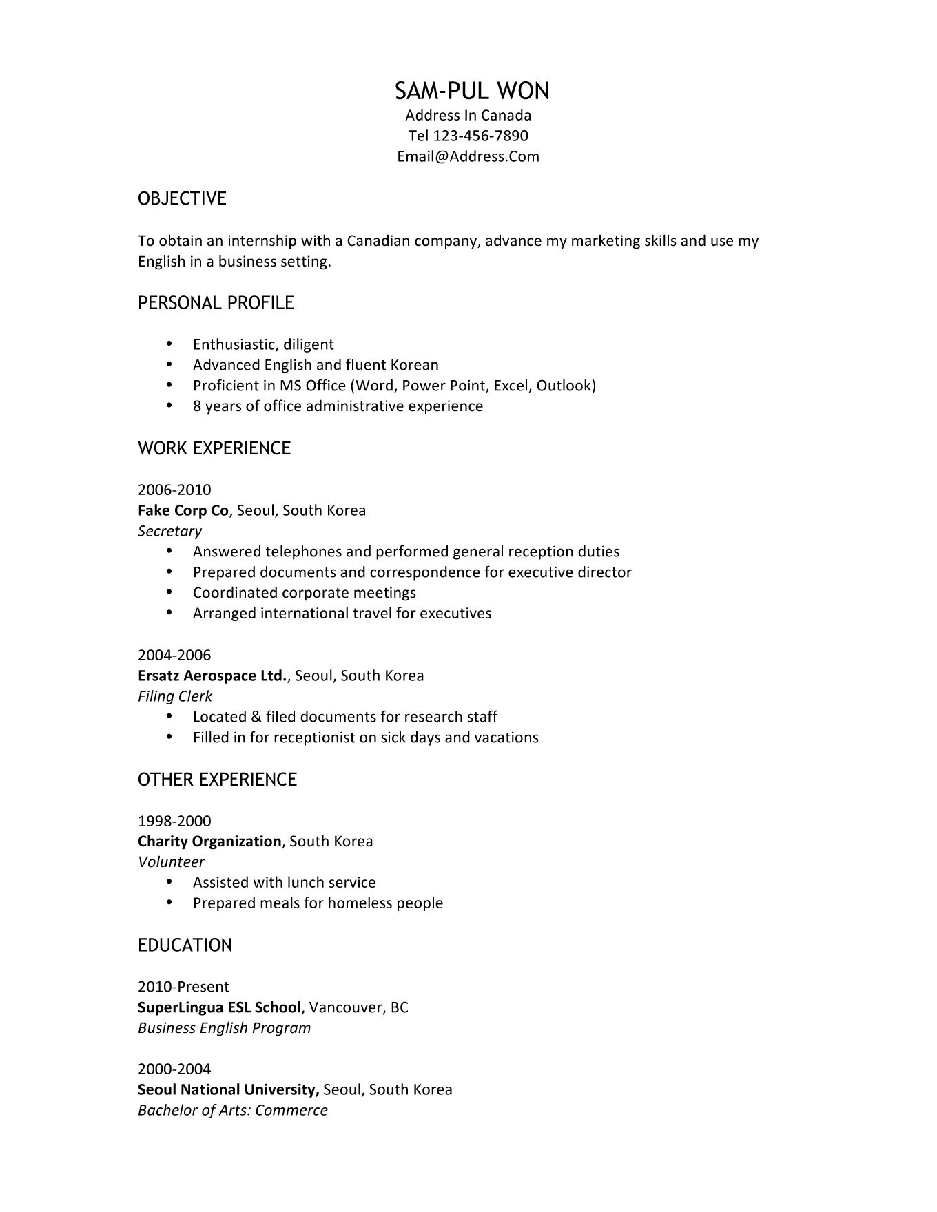 canadian customs resume, Invoice templates