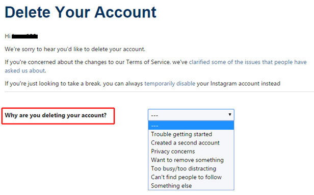 procedure to delete your Instagram account permanently