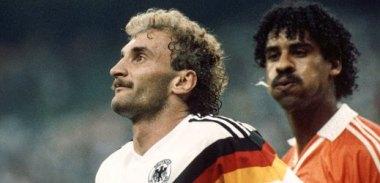 The German-Dutch rivalry is legendary. Here, Dutch footballer Frank Rijkaard spits on German Rudi Völler during the 1990 World Cup.