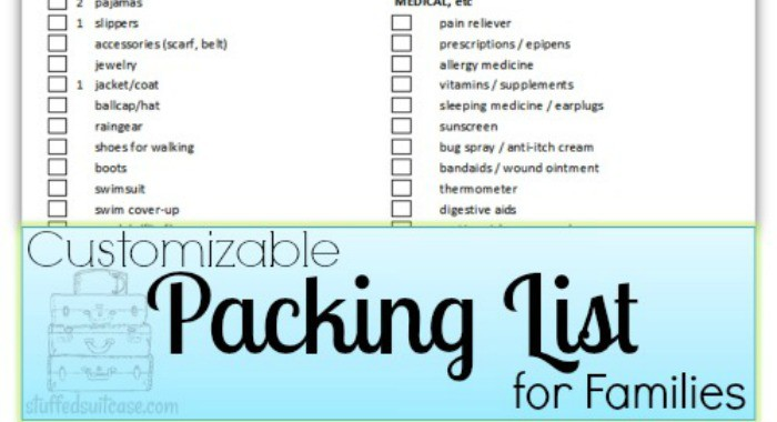 Packing List for Families - Customizable - Stuffed Suitcase - packing lists