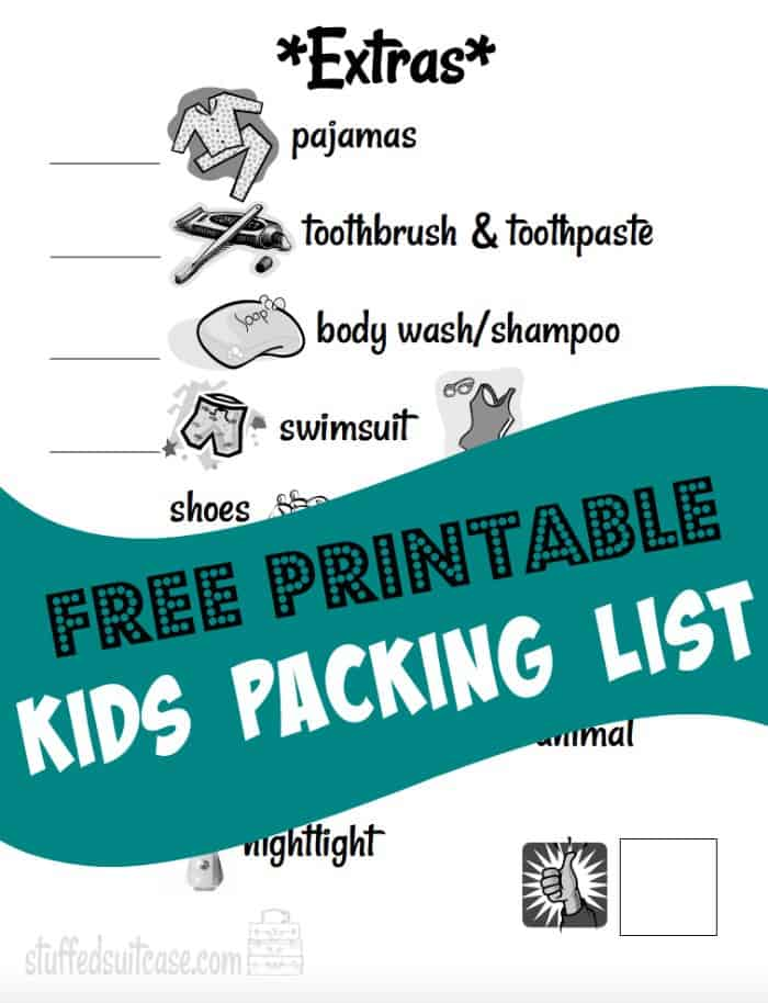 Kids Packing List - Reader  Non-Reader Version - Vacation Packing List Printable