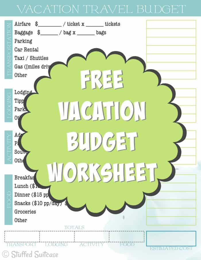 Create a Travel Budget Vacation Cost Worksheet - vacation budget spreadsheet