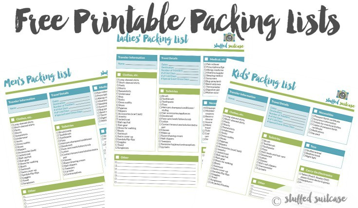 Packing List Template Printable - Stuffed Suitcase