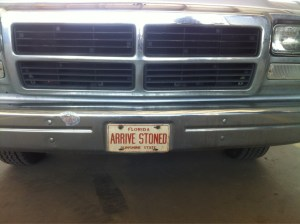 arrive stoned liscence plate