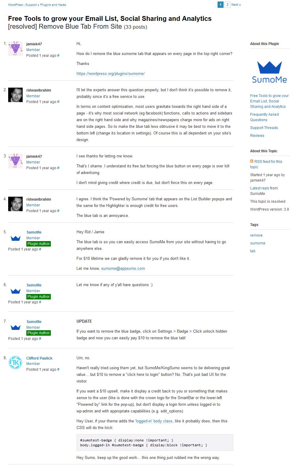 remove-sumome-blue-button-tab-wordpress-forum