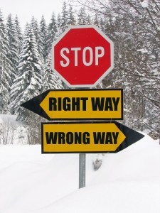 right and wrong way road sign in nature