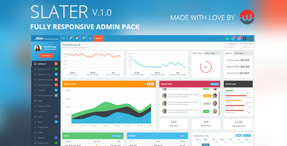 Slater \u2013 Massive Responsive Bootstrap Admin Template (Admin