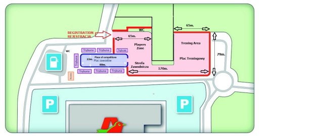 Situational plan StuntGP 1-3.07.2016 , Rejewskiego 3 street, 85-791Bydgoszcz, Polland (parking C.H. Auchan)