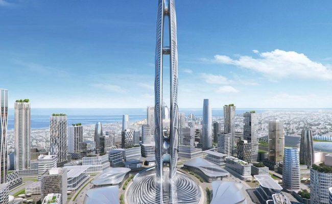Looking Up The Burj Jumeira Supertall Skyscraper In Dubai Stupiddope