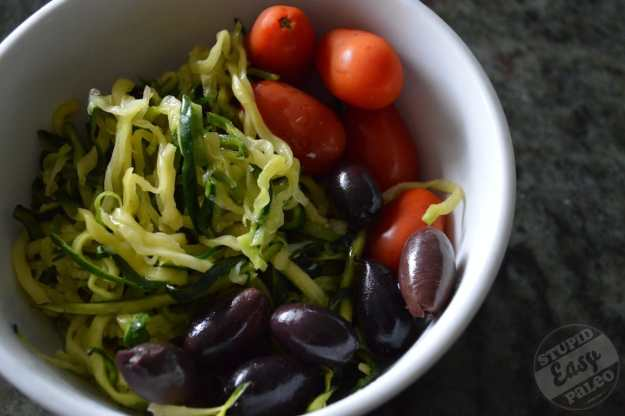 Cold Zucchini Noodle Salad with Tomato and Olives | stupideasypaleo.com