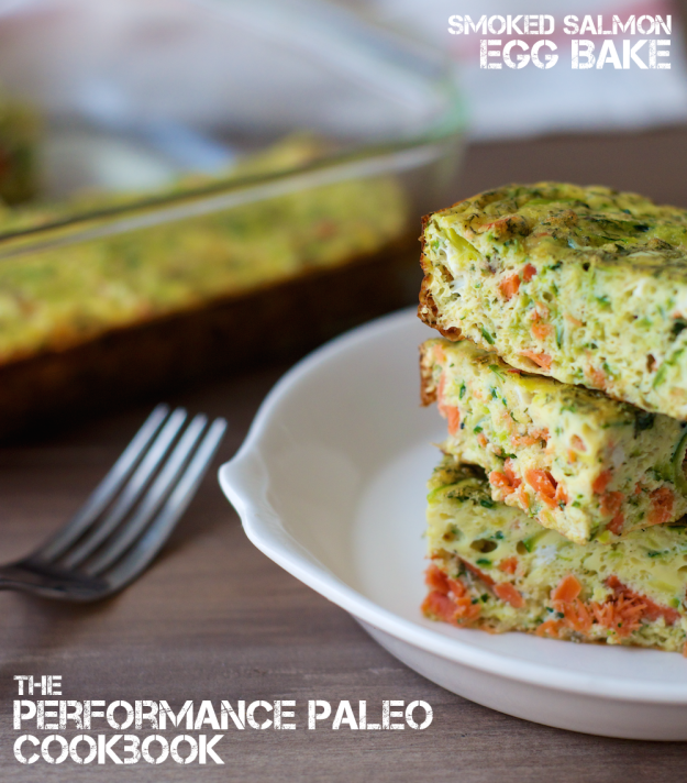 Smoked Salmon Egg Bake from Performance Paleo Cookbook | stupideasypaleo.com
