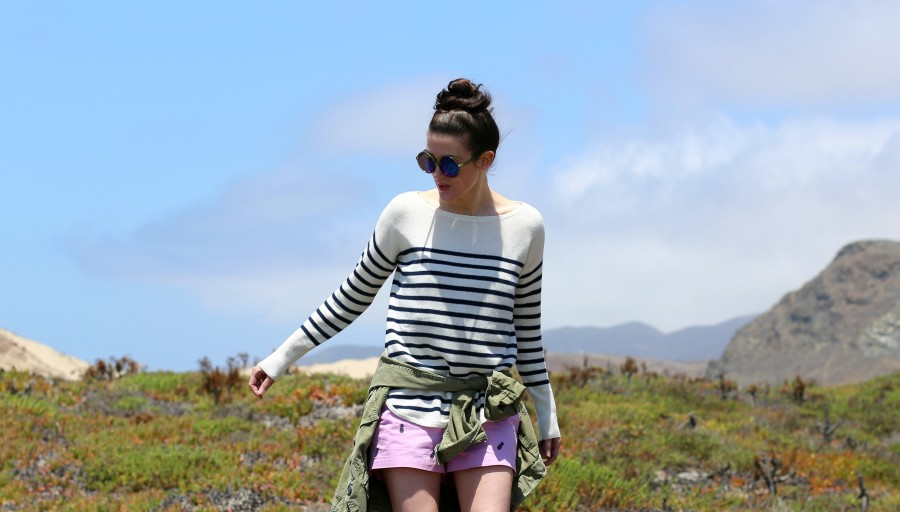 Stripe Sweater Shorts 2a