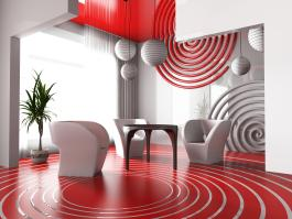רעיון לשימוש בצבע אדום בעיצוב הבית במקביל לבחירת פריטים עיצוביים מורכבים.