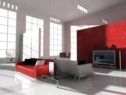 קווי עיצוב נקיים בחדר הסלון עם שילוב צבעים אדום ולבן.