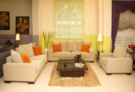 שילוב צבעים קונטרסטים בעיצוב הסלון.