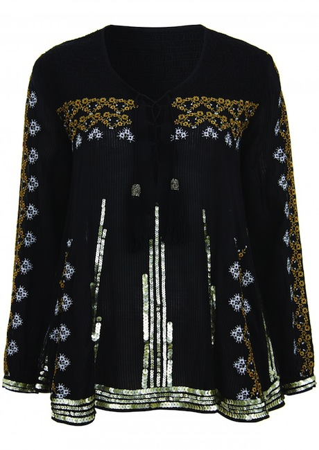 black top Kate Moss Brings Back Boho Glam in Latest Topshop Collaboration