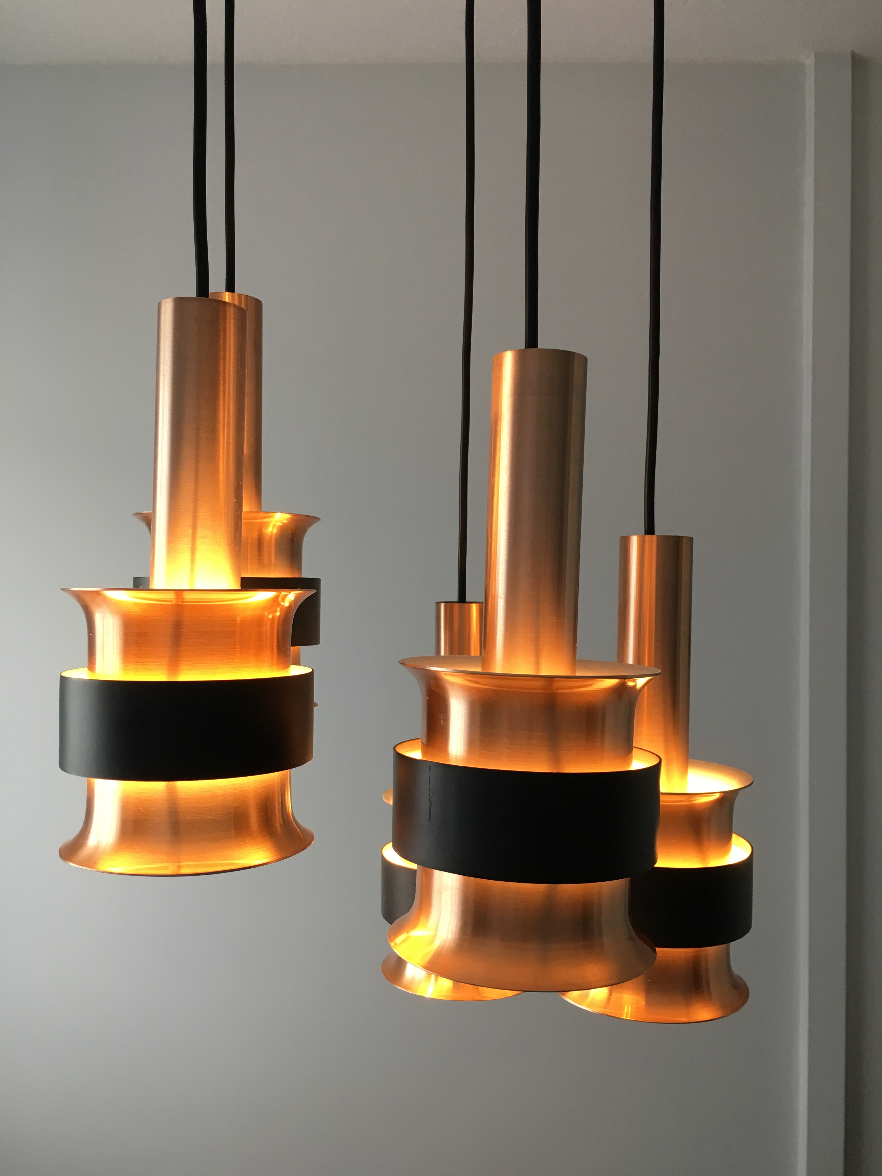 Suspensions Scandinaves 5 Suspensions Scandinave Année 60 Five Pendant Danish Fog Morup