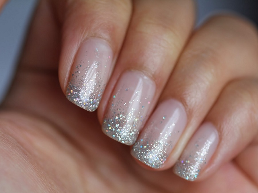 Unghie Gel French Bianco Glitter E Colorato Style Girl