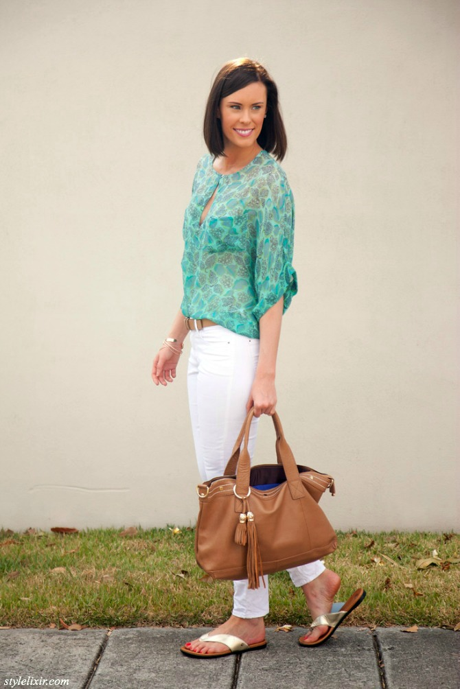 1 Juil Sandals White Jeans Country Road Gypsy05 Floral Blouse Fall Winter Trends Fashion Style Elixir www.stylelixir.com Blogger Cuore and Pelle Leather Handbag Maya Brenner Letter Necklace Castellamare Bow Bangle