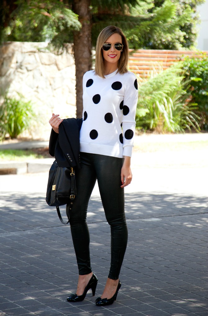 11 Style Sessions Fashion Link Up   Leather Pants and Polka Dots