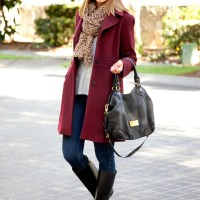 Style Sessions Link Up: Loving - A Leopard Scarf and Burgundy Coat
