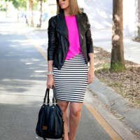 Style Sessions Link Up - Vince Leather Jacket and Stripe Pencil Skirt