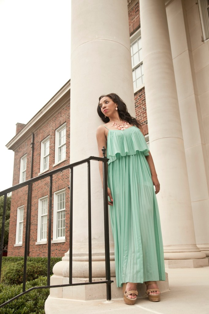 style_me_twice_kaylah_burton_forever_21_mint_green_maxi_dress_charming_charlie_pink_necklace_set_dallas_bloggers_