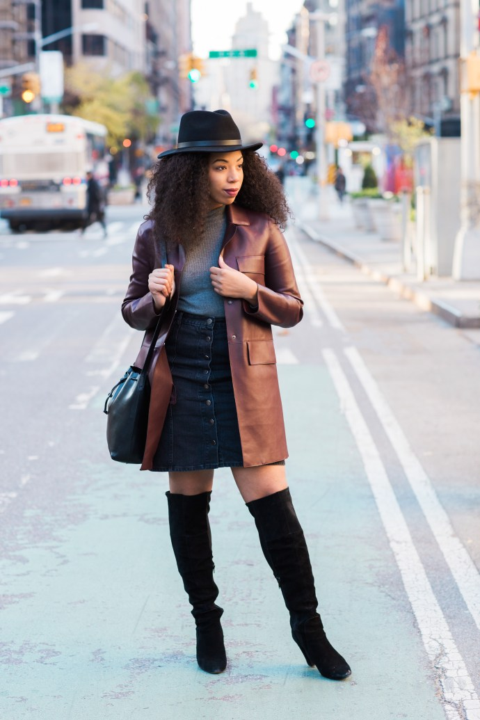 Kaylah-Burton-Style-Me-Twice-NYC-Style-ASOS-Denim-Polly-A-Line-Button-Through-Midi-Skirt-In-Washed-Black-Brixton-Messer-Hat