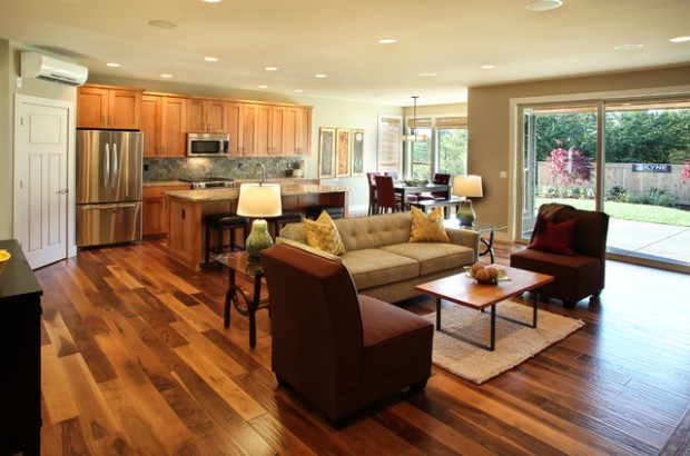 open floor plan kitchen living room design log home open open concept kitchen living room designs home interior ideas