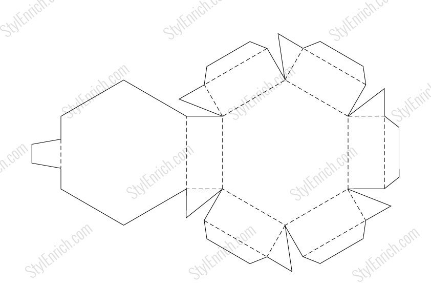 DIY Paper Gift Box Craft Stencil Template FREE Download - gift box template free