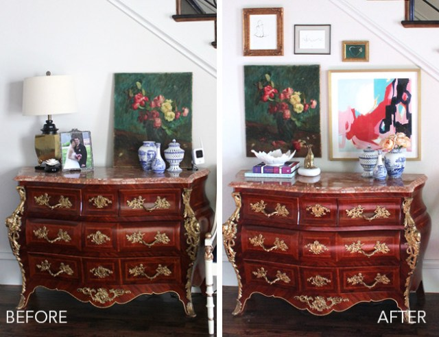 entryway makeover, french bombe chest of drawers, vintage oil painting, opus print by katie craig, chinoiserie vases, modern eclectic decor, traditional home