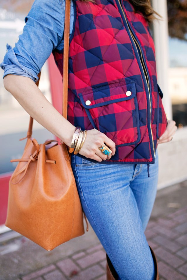 jcrew buffalo check excursion vest, over the knee boots, wishing well intention acacia ring, mansur gavriel bucket bag