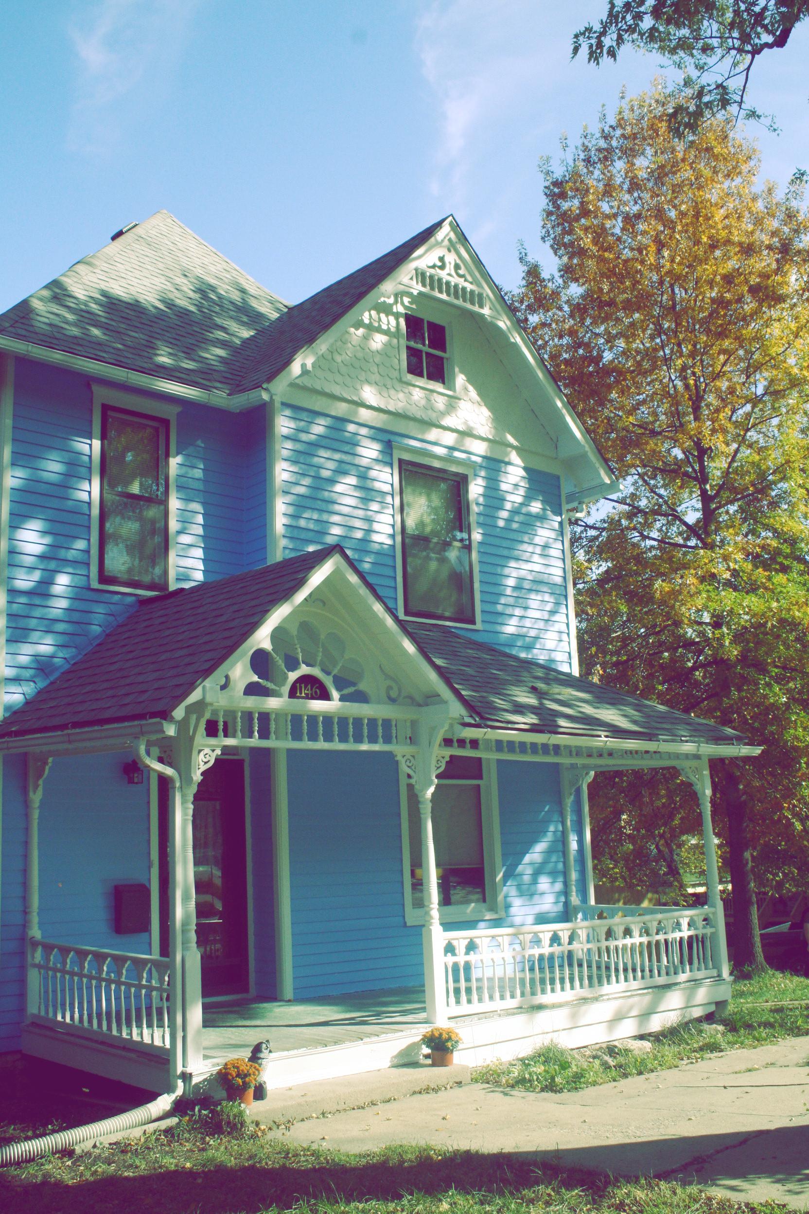 little blue house.