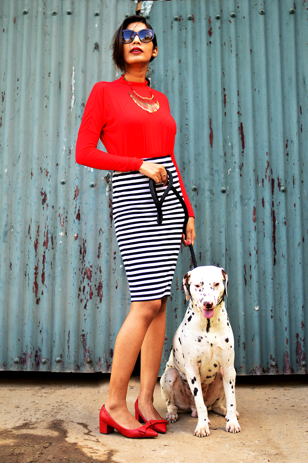 Fashion, Style, Fashion photography, Street Style, Fashion Blogger, Striped Pencil Skirt, Fashion Photo with animals, Red Blouse-6