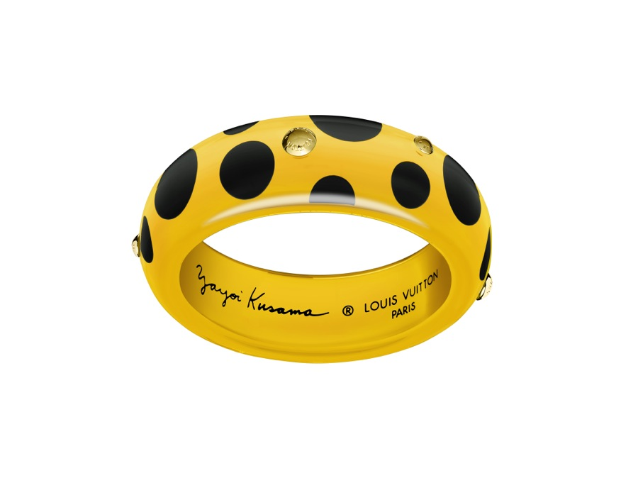 Yayoi Kusama Louis Vuitton Bangle GM Dots Infinity yellow