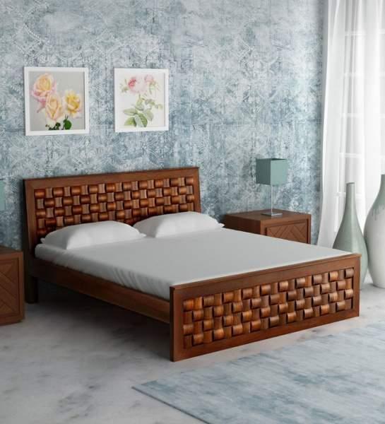 Design Of Teak Wood Bed Coppia Di Poltrone In Velluto Blu