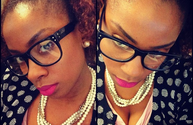 Bored at work? Polka dots, pearls and specs