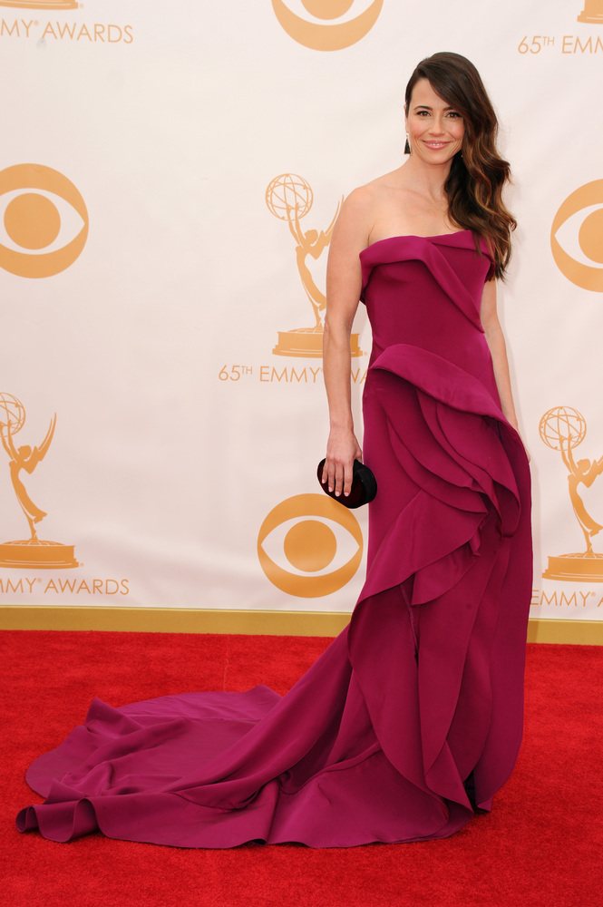 Linda Cardellini in Donna Karen Atelier (Photo: Getty Images and Huff Post Style)