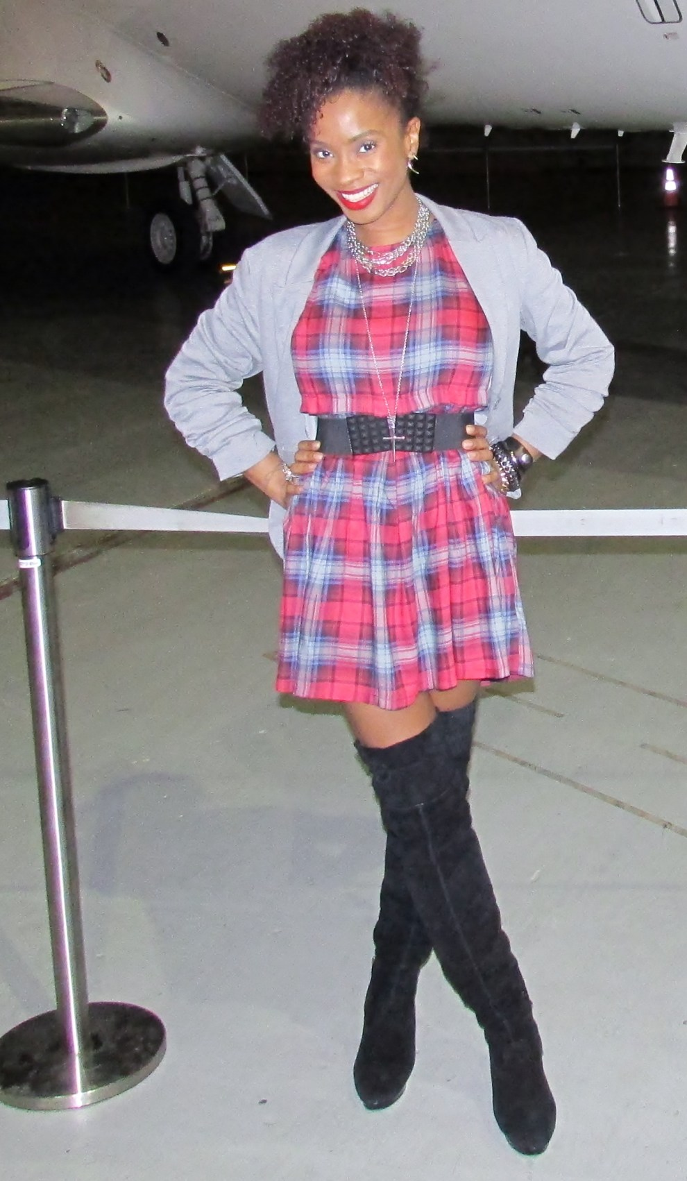 Yana B. in Forever 21 Dress, H&M Blazer, and Steve Madden Boots (old)